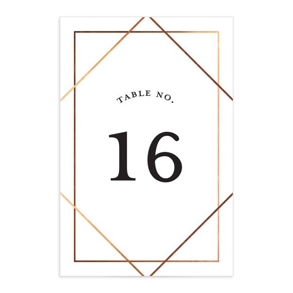 Formal Ampersand Wedding Table Number front white
