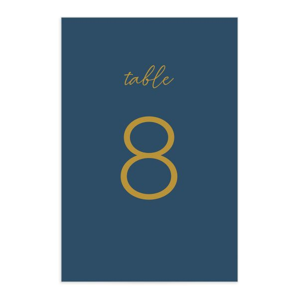 Gold Calligraphy Table Number Card front blue