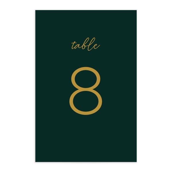 Gold Calligraphy Table Number Card front green