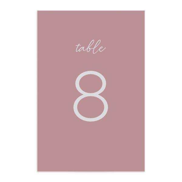 Gold Calligraphy Table Number Card front pink