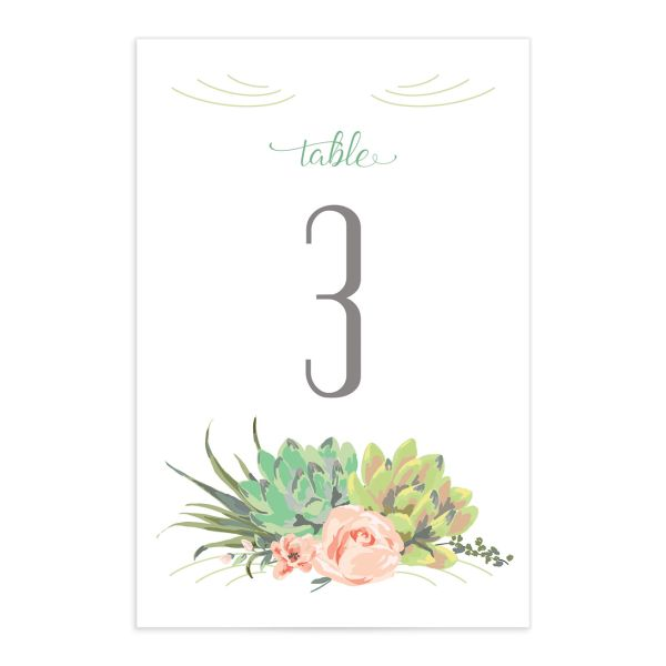 Romantic Succulents table number front green