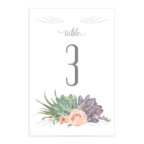 Romantic Succulents table number front purple