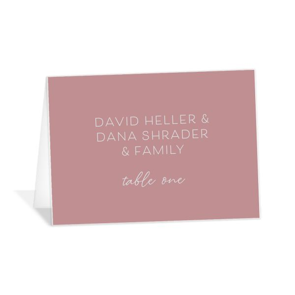 Gold Calligraphy Place Card front pink