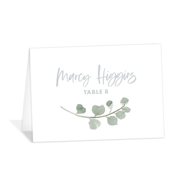 Wintry Floral Place Card front white