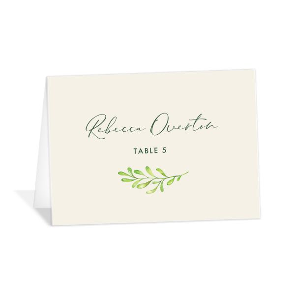 Calligraphic Botanical Place Card front cream