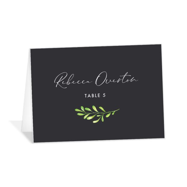 Calligraphic Botanical Place Card front grey