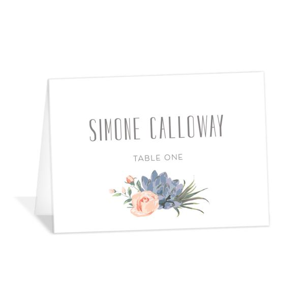 Romantic Succulents place card pink
