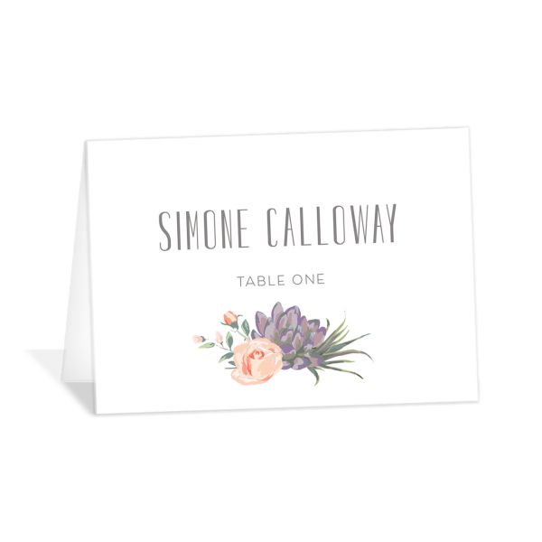 Romantic Succulents place card purple