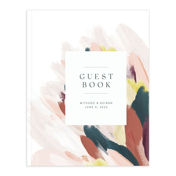 Floral Abstract Wedding Guest Book pink