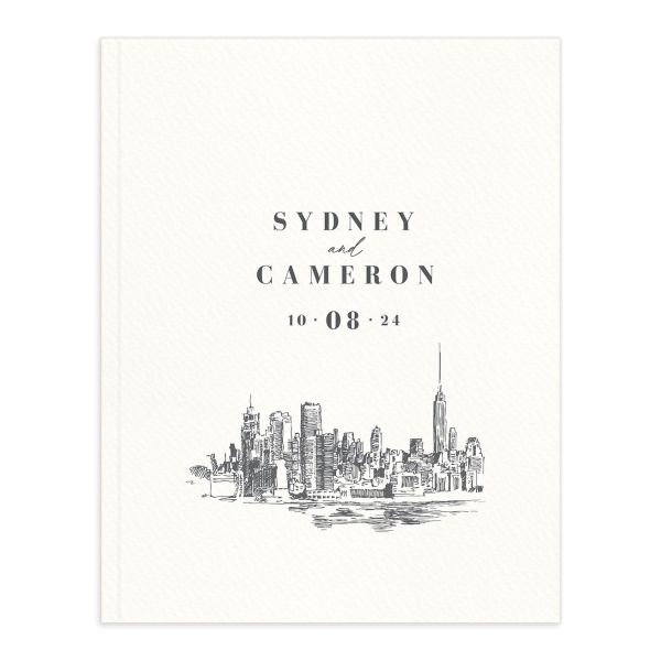 Love in New York Wedding Guest Book front grey