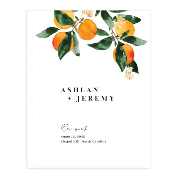 Orange Citrus Wedding Guest Book front