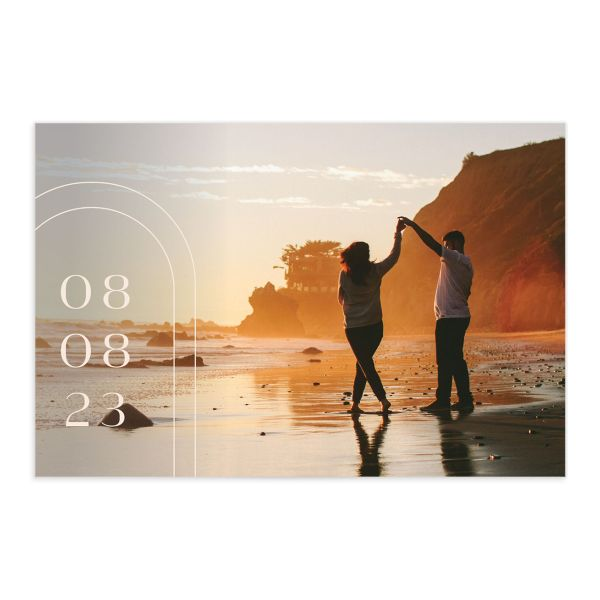 Modern Romantic save the date postcard front