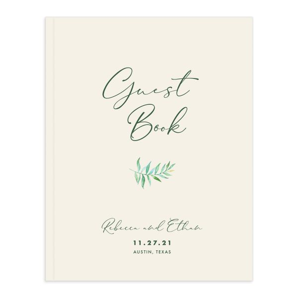 Calligraphic Botanical Wedding Guest Book front cream