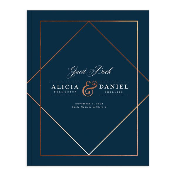 Formal Ampersand Wedding Guest Book blue