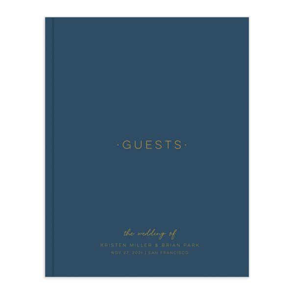 Gold Calligraphy Wedding Guest Book front blue