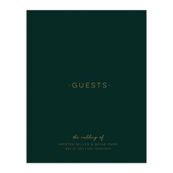 Gold Calligraphy Wedding Guest Book front green