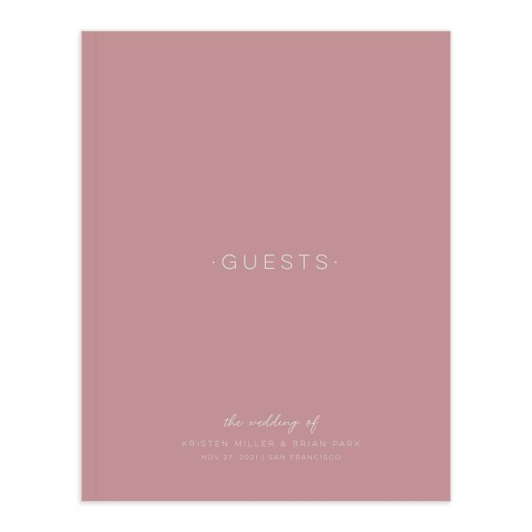 Gold Calligraphy Wedding Guest Book front pink