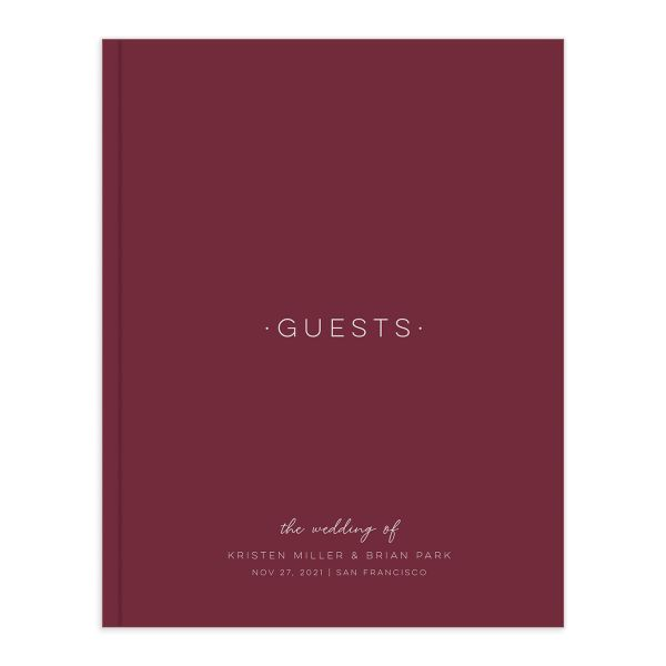 Gold Calligraphy Wedding Guest Book front red