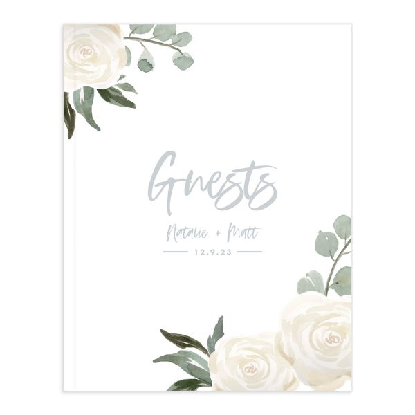 Wintry Floral Wedding Guest Book front white