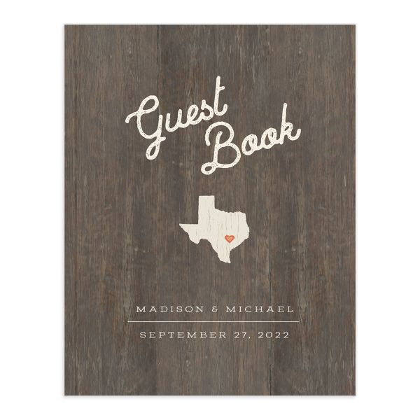 Custom State Wedding Guest Book front