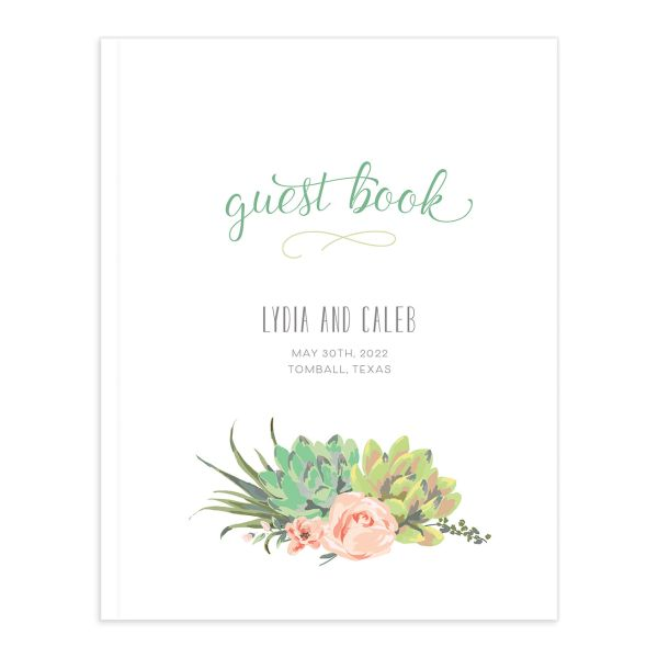 Romantic Succulents guest book green