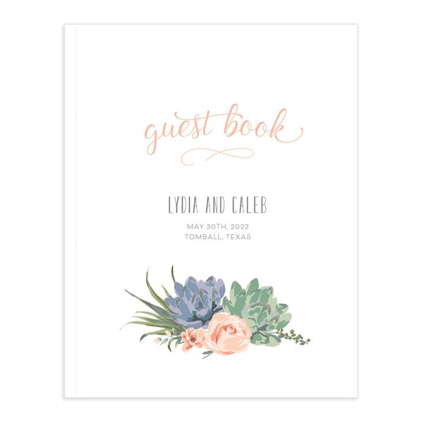 Romantic Succulents guest book pink