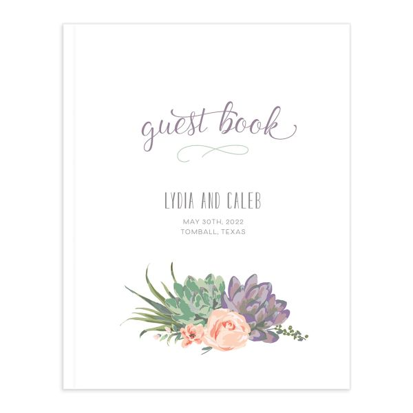 Romantic Succulents guest book purple