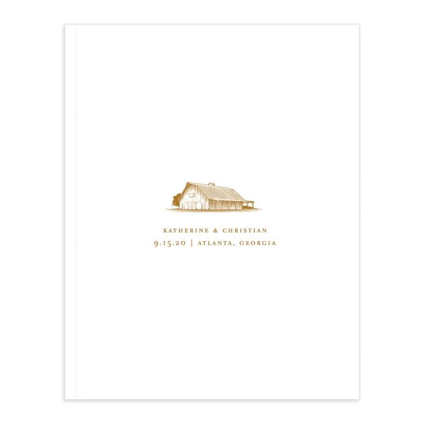 Classic Landscape Wedding Guest Book front mustard