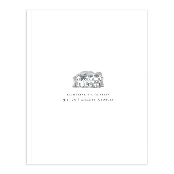 Classic Landscape Wedding Guest Book front grey