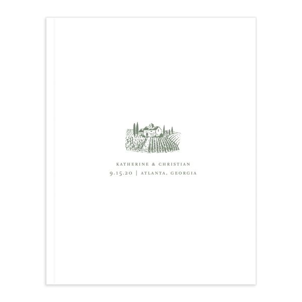 Classic Landscape Wedding Guest Book front green