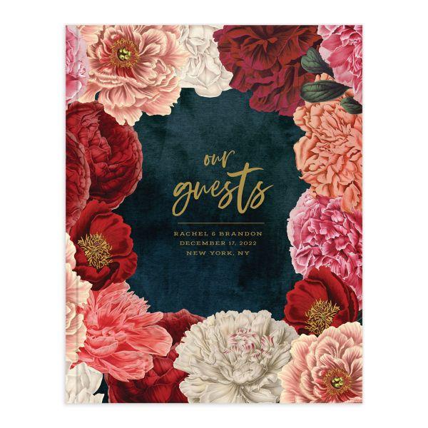 Midnight Peony Wedding Guest Book
