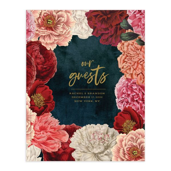 Midnight Peony Wedding Guest Book front