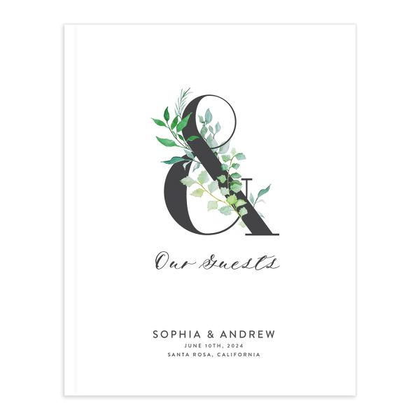 Leafy Ampersand wedding guest book catalog green