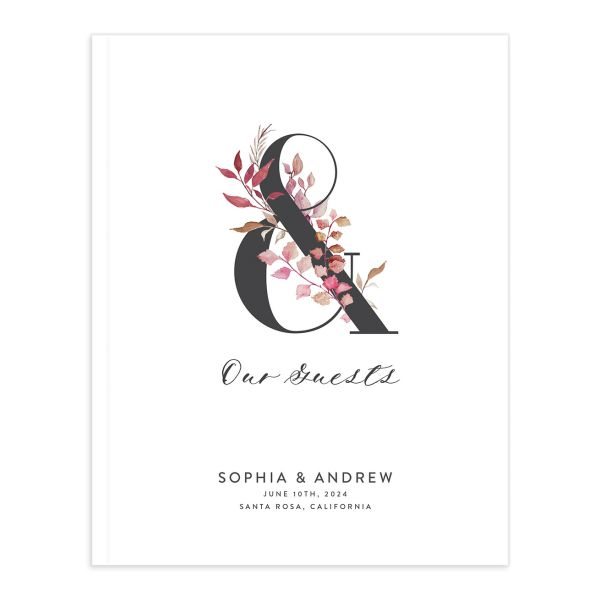 Leafy Ampersand wedding guest book catalog purple