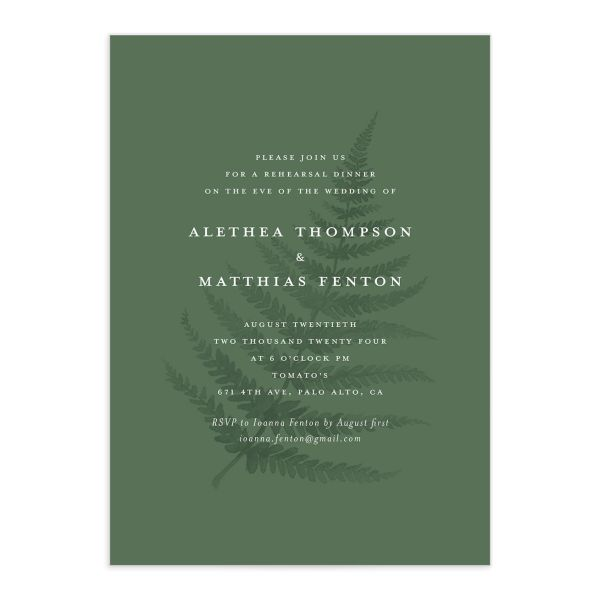 Woodsy Ferns rehearsal dinner invitation front