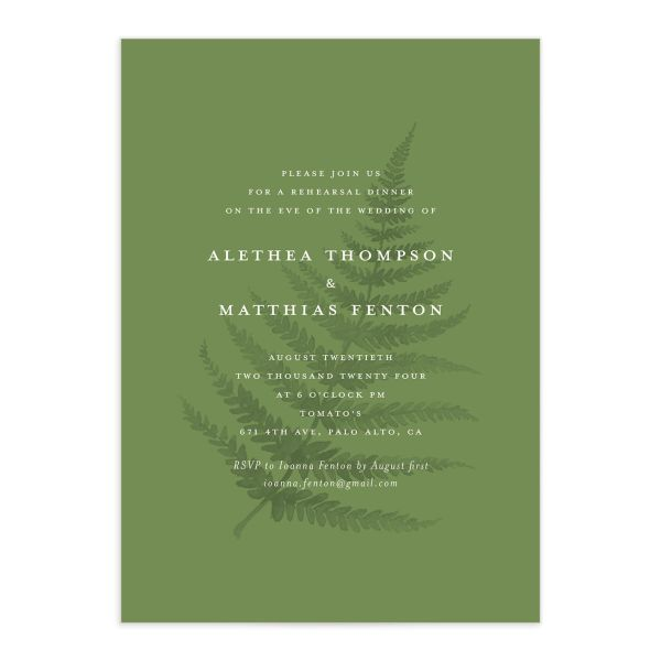 Woodsy Ferns rehearsal dinner invitation front light green
