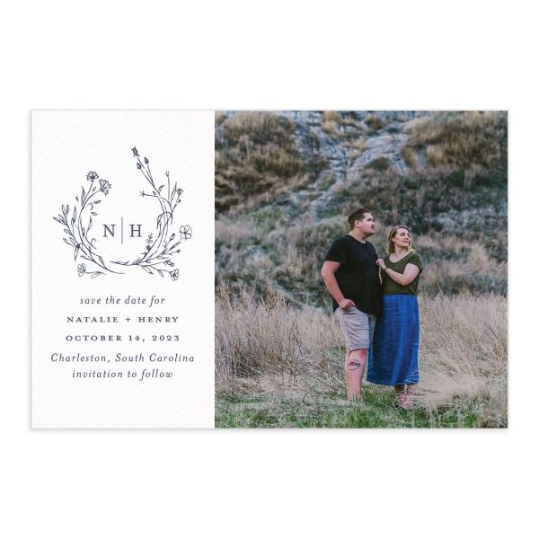 Natural Monogram Save the Date Postcard front blue