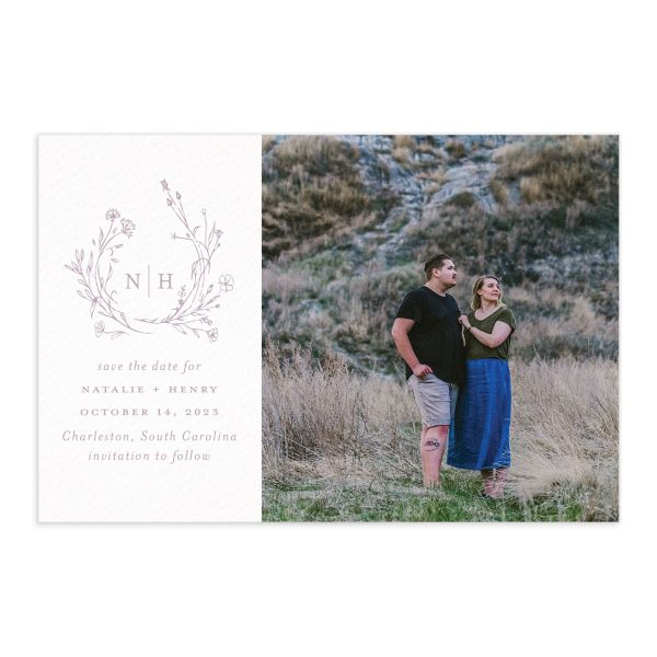 Natural Monogram Save the Date Postcard front purple
