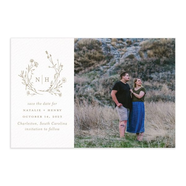 Natural Monogram Save the Date Postcard front tan