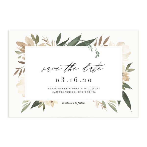 Neutral Greenery Save the Date Postcard front green