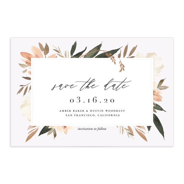 Neutral Greenery Save the Date Postcard front orange