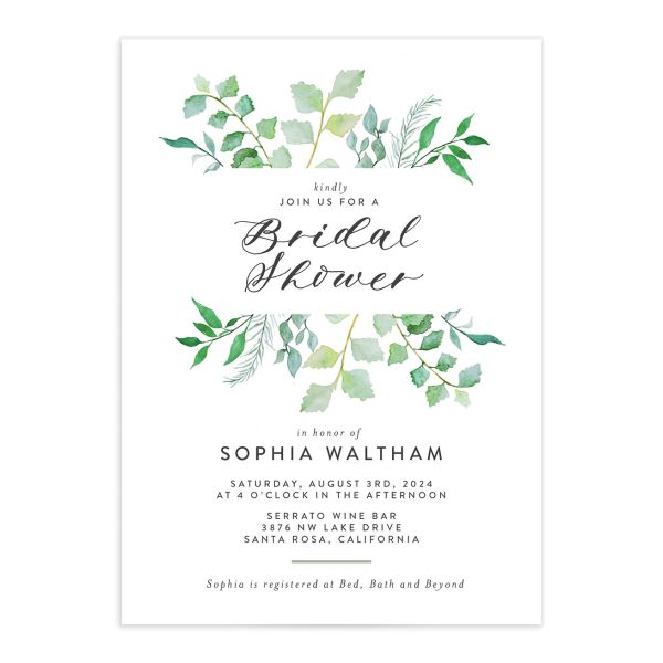 Leafy Ampersand bridal shower invite green catalog