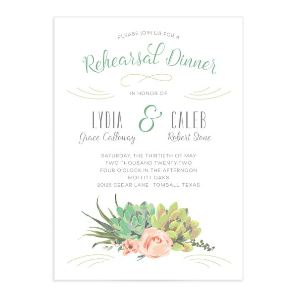 Romantic Succulents rehearsal dinner invitation front green