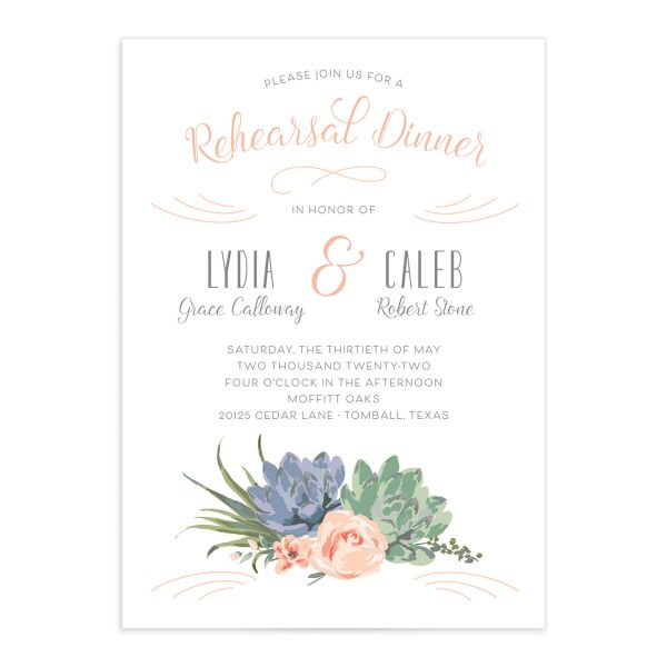 Romantic Succulents rehearsal dinner invitation front pink