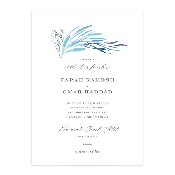 Elegant Beach Wedding Invitation front closeup in blue