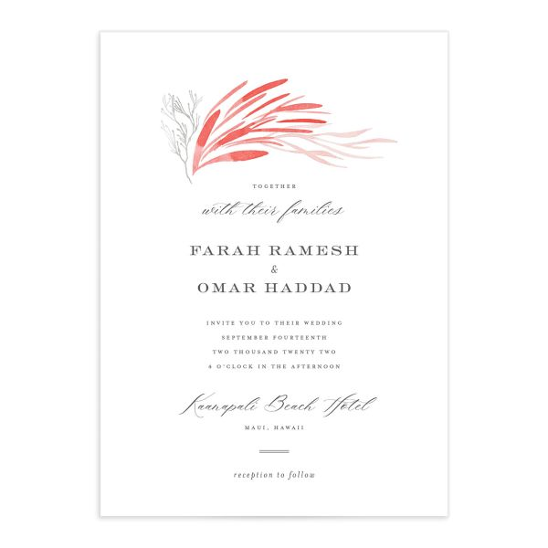 Elegant Beach Wedding Invitation front closeup in pink
