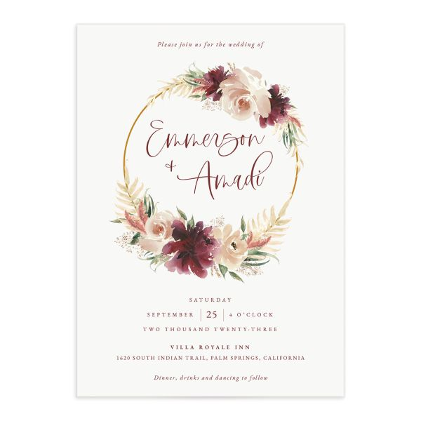 Floral Wreath wedding invitation front