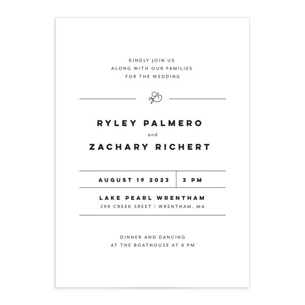 Garden Picnic Wedding Invitation front in black