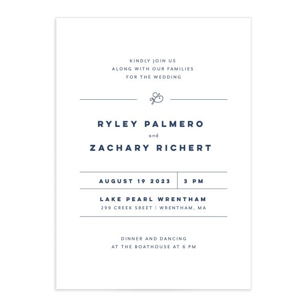 Garden Picnic Wedding Invitation front in blue