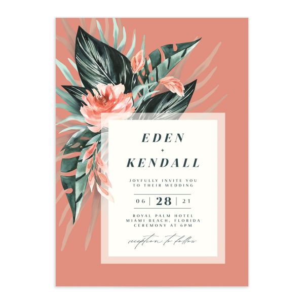 Mod Trop Wedding Invitation front closeup in pink